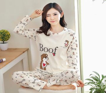 Long Sleeve Night Gown for Woman cartoon type baby bear with Pajamas (Type P).