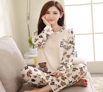 Long Sleeve Night Gown for Woman cartoon type baby bear with Pajamas (Type Q).