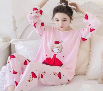 Long Sleeve Night Gown for Woman cartoon Red color girl rose with Pajamas (Type R).
