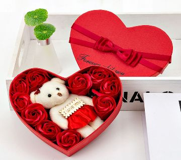 Sweet Love  Valentine gift box (Flowers With Soft Teddy)