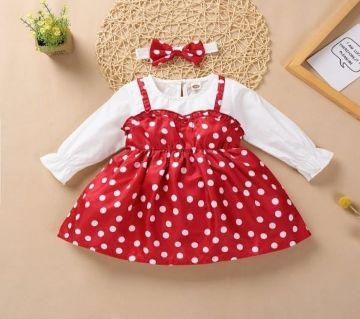 Toddler Baby Girl Long Sleeve Wave Point Bubble Skirt+Bowknot Headband Set