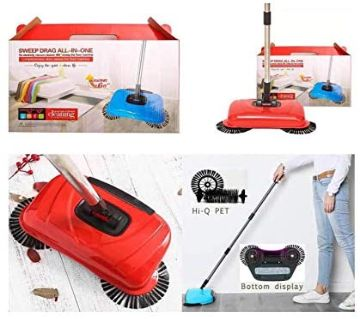 360 Degree Magic Floor Cleaning Automatic Mop Without Electricity - Hand Push Household Lazy Sweeper Broom