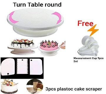 Combo Cake Decorating Turn table & 3 PCS Plastic Cake Scraper Free Measurement Cup set