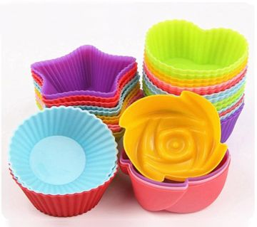 6 pcs Silicone Cake Cupcake Cup Cake Tool Bakeware Baking Silicone Mold Cupcake and Muffin Cupcake for DIY by Random Color