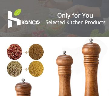 KONCO Wood Salt and Pepper Mills Shakers, Wooden Spice & Pepper Grinders, Manual Mills with Adjustable Ceramic Kitchen Tool