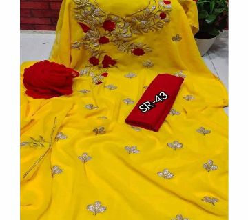 Unstitched Yellow Color Georgette Embrodury Kameez For Women
