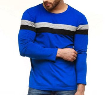 Men full sleeve T-shirt cotton contest body BLUE