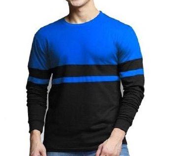 Men full sleeve T-shirt cotton contest body BLACK-BLUE