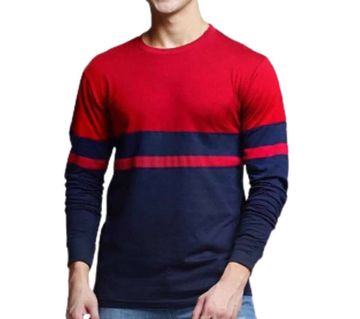 Men full sleeve T-shirt cotton contest body BLACK-RED