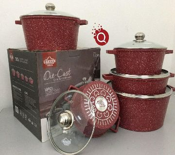 10Pcs Uakeen  Cookware Set Marbel Coted.casserole set with lid (Granite Coating ) Non-Stick,Gift And Home Decoration:CD:M500.