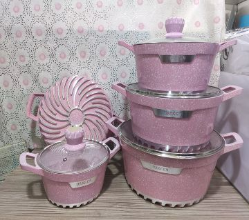 10Pcs Uakeen  Cookware Set Marbel Coted.casserole set with lid (Granite Coating ) Non-Stick Pink Color