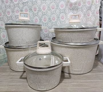 10Pcs Uakeen  Cookware Set Marbel Coted.casserole set with lid (Granite Coating ) Non-Stick Cream Color