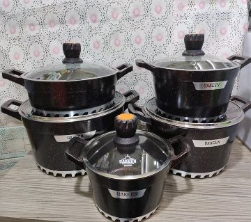 10Pcs Uakeen  Cookware Set Marbel Coted.casserole set with lid (Granite Coating ) Non-Stick Black Color