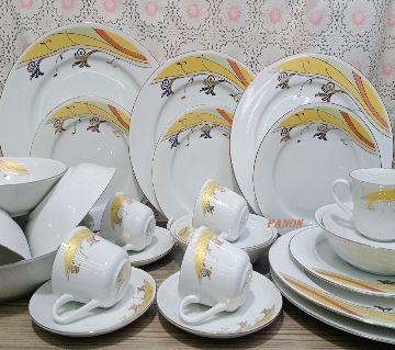 32-Pcs Dinner Set Gift And Home Decoration-6Pcs Dinner Plate,6Pcs Half Plate,6Pcs Cup & 6Pcs Saucer, 1 Pcs Curry Bowl,1Pcs Rice Dish,6Pcs Sweet Bowl