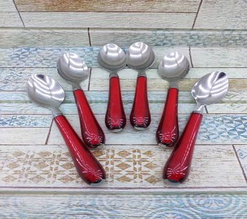 6 Pcs Stainless Steel Tea Spoon with Plastic Handle Set