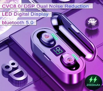 F9 True Wireless Bluetooth5.0 Earphones 2000mAh Charging Case HD Binaural Call Use Independently 150 Hours Standby Time  Black