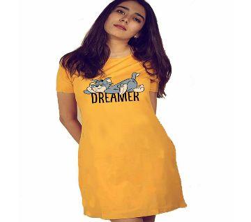 Ladies long cotton T shirt-yellow