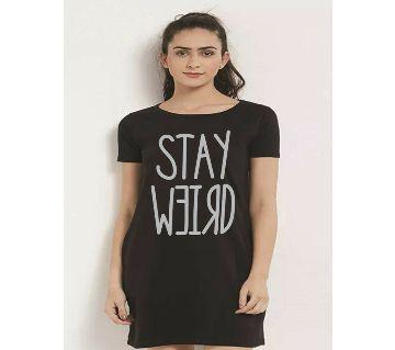 Ladies long cotton T shirt-black