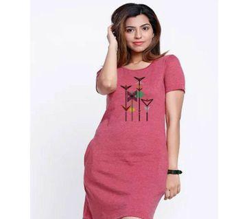 Ladies long cotton T shirt-maroon