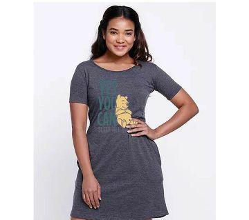Ladies long cotton T shirt-ash