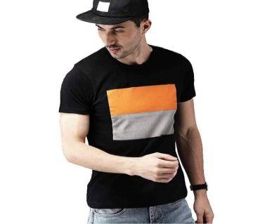 Half sleeve Cotton Tshirt For men-Black