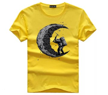 Polyester Short Sleeve T-Shirt for Men - Yellow