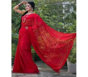 Soft Joom Cotton Monipuri Saree For Women - Red