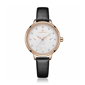 NAVIFORCE NF5003 Black PU Leather Sub-Dials Chronograph Watch For Women - Black & RoseGold
