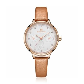 NAVIFORCE NF5003 Brown PU Leather Sub-Dials Chronograph Watch For Women- Brown & RoseGold