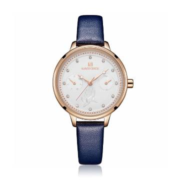 NAVIFORCE NF5003 Navy Blue PU Leather Sub-Dials Chronograph Watch For Women - Navy Blue & RoseGold