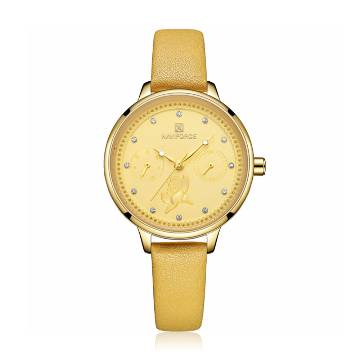 NAVIFORCE NF5003 PU Leather Chronograph Watch For Women - Yellow