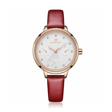 NAVIFORCE NF5003 Red PU Leather Sub-Dials Chronograph Watch For Women - Red & RoseGold
