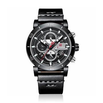 NAVIFORCE NF9131 PU Leather Chronograph Watch for Men - Black