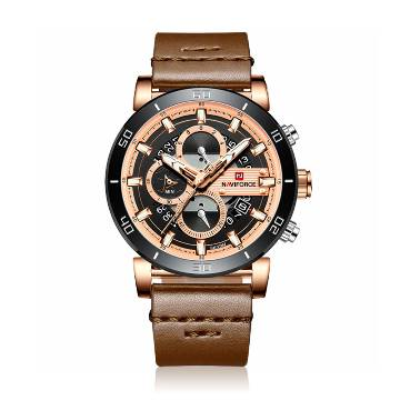 NAVIFORCE NF9131 PU Leather Chronograph Watch for Men - Dark Brown