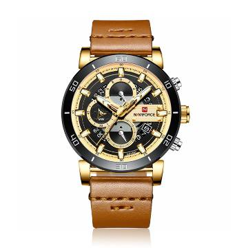 NAVIFORCE NF9131 PU Leather Chronograph Watch for Men - Golden and Brown