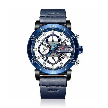 NAVIFORCE NF9131 PU Leather Chronograph Watch for Men -Navy Blue