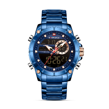 NAVIFORCE NF9163 Stainless Steel Dual Time Wrist Watch for Men - Royal Blue