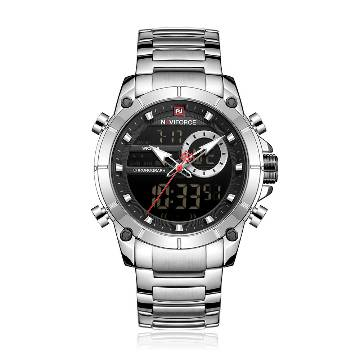 NAVIFORCE NF9163 Stainless Steel Dual Time Wrist Watch for Men - Silver