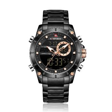 NAVIFORCE NF9163 Stainless Steel Dual Time Wrist Watch for Men - Black