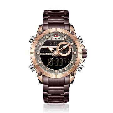 NAVIFORCE NF9163 Stainless Steel Dual Time Wrist Watch for Men - RoseGold & Bronze