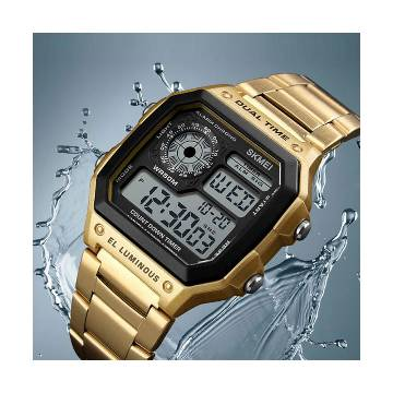 SKMEI Stainless Steel DUAL TIME Digital Wristwatches Multicolor