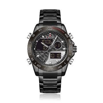 NAVIFORCE NF9171 Black Stainless Steel Dual Time Wrist Watch for Men - Black