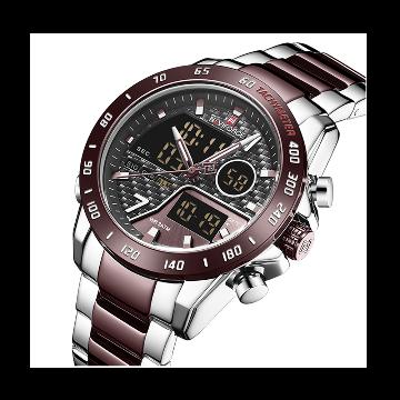 NAVIFORCE 9171-SCECE Men LED Sport Military Luminous Waterproof Watch for Men