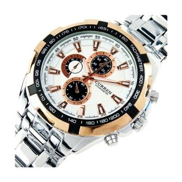 Curren 8023 Stainless Steel Chronograph Watch for Men - Silver