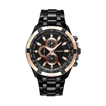Curren 8023 Stainless Steel Chronograph Watch for Men - Black