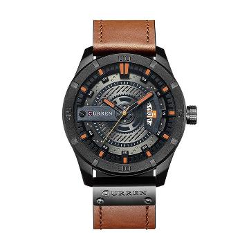 CURREN 8301 Brown PU Leather Analog Watch For Men - Orange & Brown