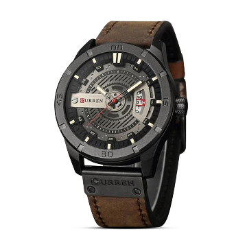 CURREN 8301 Chocolate PU Leather Analog Watch For Men - Chocolate
