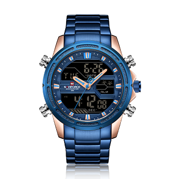 NAVIFORCE NF9138 Stainless Steel Dual Time Wrist Watch For Men - Rose Gold and Royal Blue