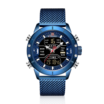 NAVIFORCE NF9153 Stainless Steel Dual Time Digital Wrist Watch For Men - Royal Blue