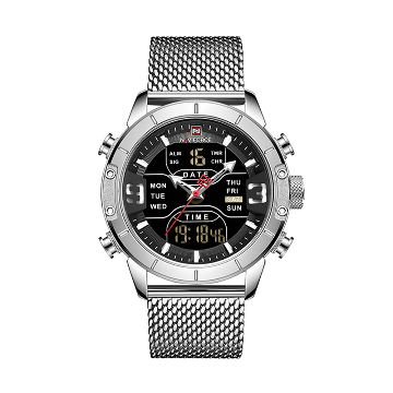 NAVIFORCE NF9153 Silver Mesh Stainless Steel Dual Time LCD Digital Wrist Watch For Men - Silver